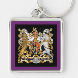 United Kingdom kungligt lag av armar Fyrkantig Silverfärgad Nyckelring