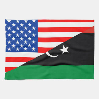United States Amerika libya halv flagga USA Kökshandduk