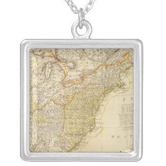 United States av den Nordamerika kartboken kartläg Halsband Med Fyrkantigt Hängsmycke