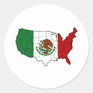 United States av Mexico Runt Klistermärke