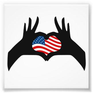 United States för händerhjärtasymbol amerikanska f Fototryck