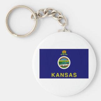 United States Kansas flagga Rund Nyckelring