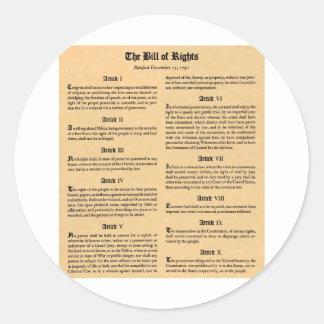 United States räkning av rättigheter Runt Klistermärke