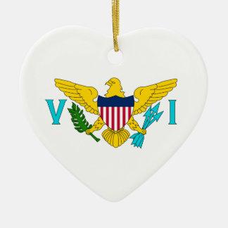 United States Virgin Islands flagga Hjärtformad Julgransprydnad I Keramik