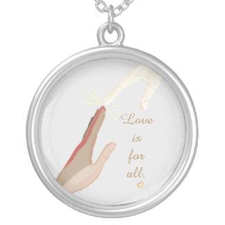 Universell andlig händerkärlek är för allt halsband med rund hängsmycke