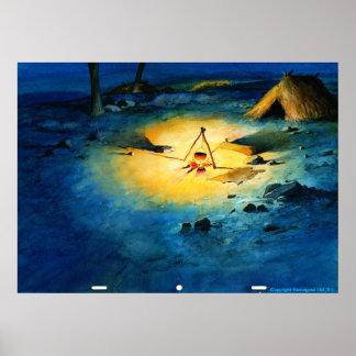 UNIVERSITETSLÄRARE QUIXOTE Animat. bakgrund - guld Poster