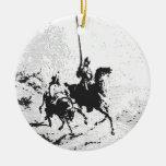Universitetslärare Quixote och Sancho Panza Rund Julgransprydnad I Keramik