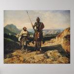 Universitetslärare Quixote och Sancho Poster