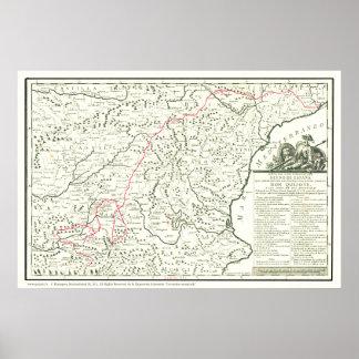UniversitetslärareQuixote Rutt Karta-Mapa de la Poster