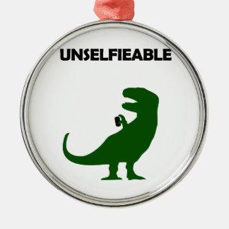 Unselfieable T-Rex Rund Silverfärgad Julgransprydnad