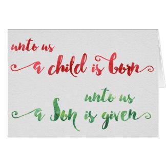 Unto oss är ett barn den födda julkortet hälsningskort