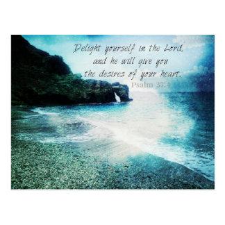 Uplifting inspirera 37:4 för bibelVersePsalm Vykort
