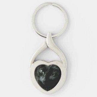 Upload ditt lyckliga svart kattfoto twisted heart silverfärgad nyckelring