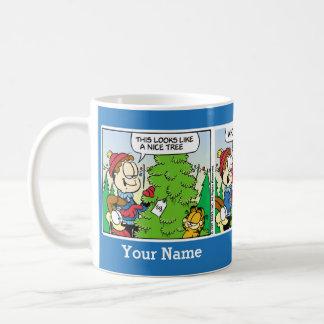 """""""Upp muggen kassalådaJuli"""" Garfield för komisk Vit Mugg"""