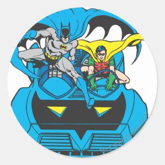 Uppassare & Robin ritt Batmobile Runt Klistermärke