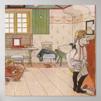 Uppför trappan loftsovrum med babysister.en affisch