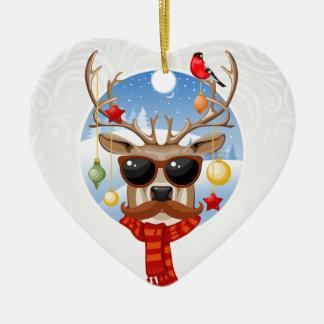 Upplaga för helgdag för Hipsterrenvinter Hjärtformad Julgransprydnad I Keramik