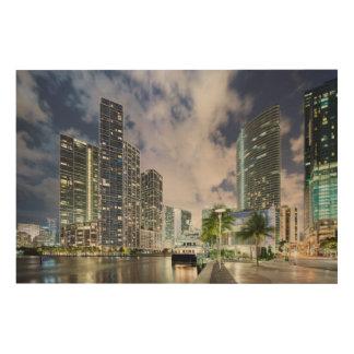 Upplyst torn på den Miami flodstranden Trätavla