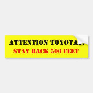 Uppmärksamhet Toyotas: , Stagbaksida 500 fot Bildekal