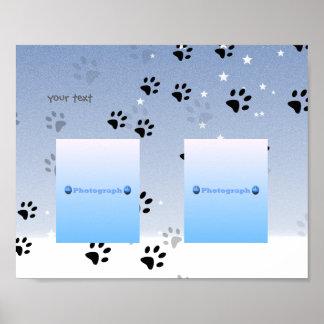 Uppnosiga kattfotspår med snö (tillfoga poster