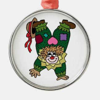 Uppochnervänd clown julgransprydnad metall