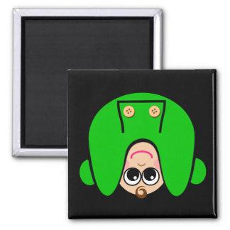 Uppochnervänd grönt magnet