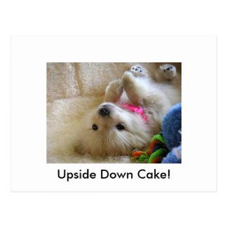 Uppochnervänd tårta vykort