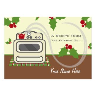 Uppsättning av 100 julreceptkort - Retro kök Visit Kort