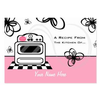 Uppsättning av 100 receptkort - Retro ugnrosakök Visitkort