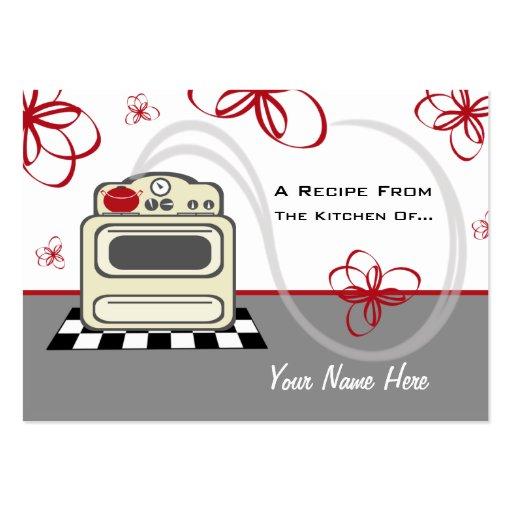 Uppsättning av 100 receptkort - rött kök för Retro Visitkort Mall