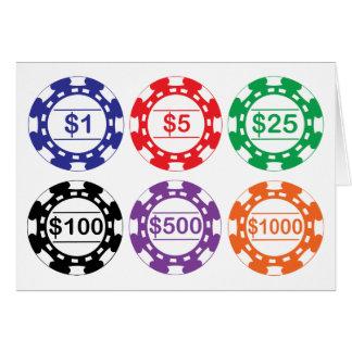 Uppsättning av 6 kasinochiper hälsningskort