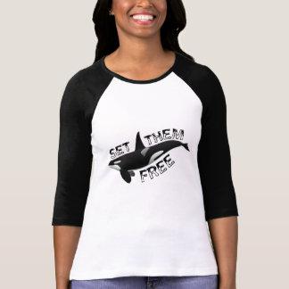 Uppsättning dem fritt orca t shirts