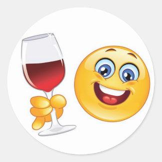 uppsättning för exponeringsglas för vin för runt klistermärke