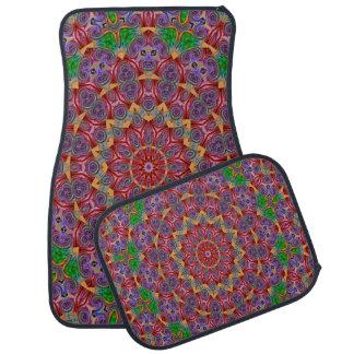 Uppsättning för Mång--Färg Kaleidoscopedesign av 4 Bilmatta