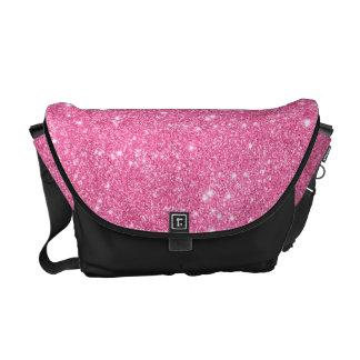 Uppsättningen för rosaglitterredot går messenger kurir väskor
