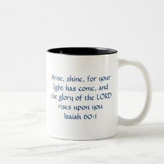 Uppstår sken - den Isaiah 60:1 Två-Tonad Mugg