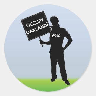 Uppta Oakland undertecknar Runt Klistermärke