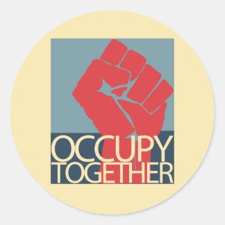 Uppta tillsammans occupy wall street protestkonst runt klistermärke