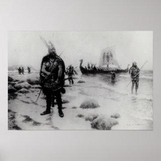 Upptäckten av Amerika av Leif Eriksson Poster