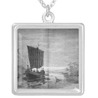 Upptäckten av Grönlandet Silverpläterat Halsband