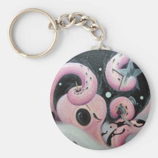 upptagen octopikeychain rund nyckelring