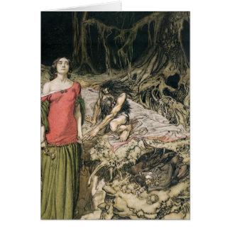 Uppvakta av Grimhilde, modern av Hagen Hälsningskort