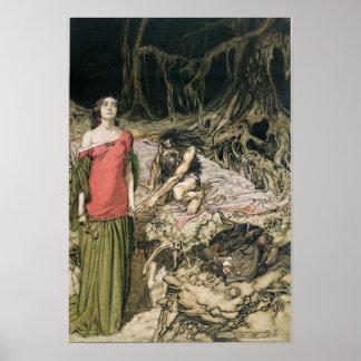 Uppvakta av Grimhilde, modern av Hagen Poster