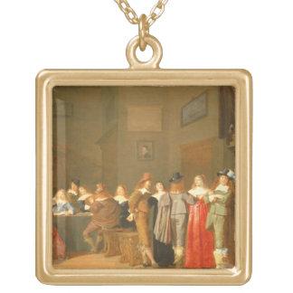 Uppvakta plats, 1644 (olja på kanfas) guldpläterat halsband