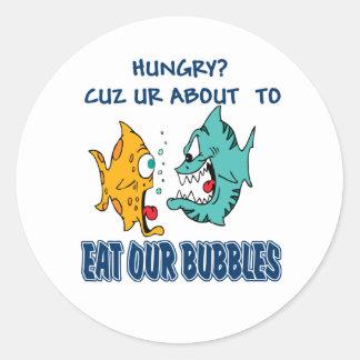 Ur omkring som äter vårt, bubblar runt klistermärke