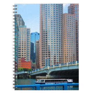 Urban landskap kontorstorn från den Boston staden Spiral Anteckningsbok