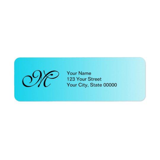 Urblekt blåttMonogram Returadress Etikett