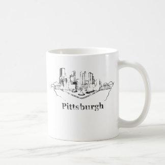 Urblekt logotyp för Pittsburgh stadshorisont Kaffemugg