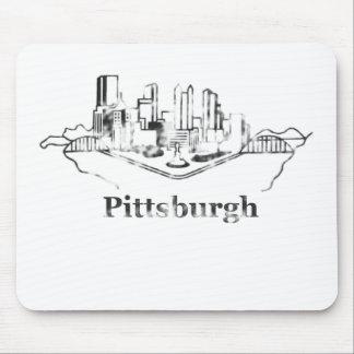 Urblekt logotyp för Pittsburgh stadshorisont Musmatta