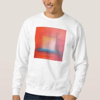 Urblekt röd abstrakt oljemålning lång ärmad tröja